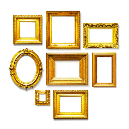 pictures: Set of antique golden frames on white background. Art gallery