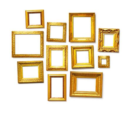 Set of antique golden frames on white background. Art gallery Stock Photo - 43897898