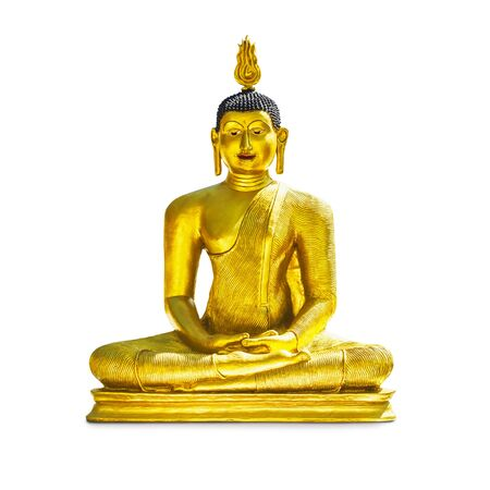 single object: Golden buddha statue isolated on white background. Single object with clipping path