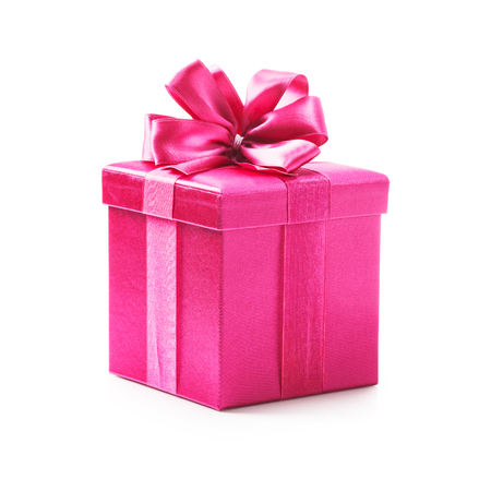 birthday presents: Pink gift box with ribbon bow. Holiday present. Object isolated on white background. Clipping path Stock Photo