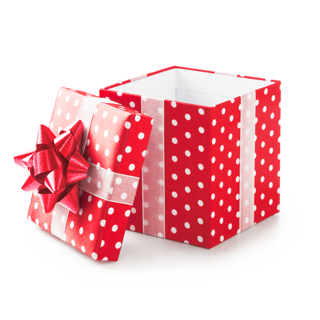 open box: Open red gift box with white dots and ribbon bow. Holiday present. Object isolated on white background. Clipping path