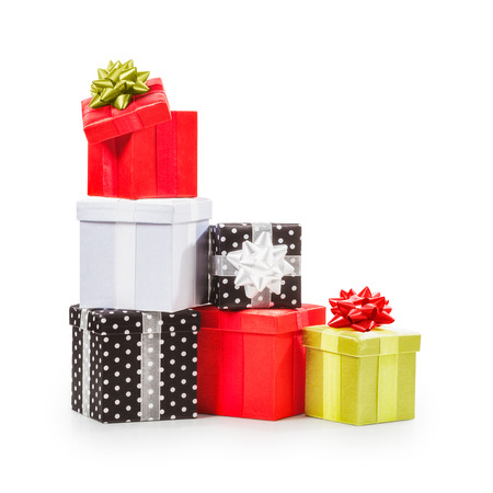 christmas objects: Stacked gift boxes with ribbon bow. Christmas present. Croup of objects isolated on white background. Clipping path