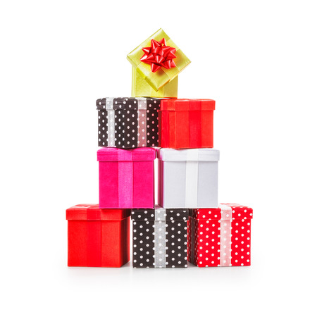 christmas present: Stacked gift boxes with ribbon bow. Christmas present. Croup of objects isolated on white background. Clipping path