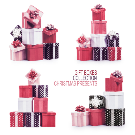 christmas objects: Stacked gift boxes with ribbon bow collection. Holiday present. Croup of objects isolated on white background. Christmas themes