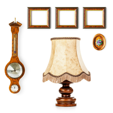 barometer: Vintage table lamp, barometer and small frames. Interior objects collection isolated on white background. Design elements