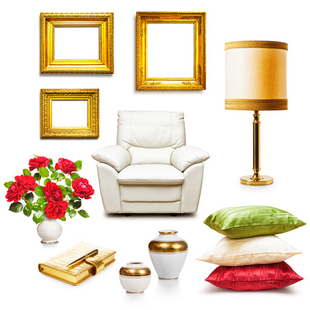 Luxury armchair, table lamp, pillows, vases and gold frames. Interior objects collection isolated on white background. Design elements Standard-Bild