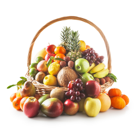 fruit basket: Basket with fresh fruits. Healthy eating and dieting concept. Winter assortment. Objects group on white background clipping path included