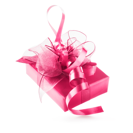christmas bow: Pink gift box with ribbon bow. Luxury holiday present. Object isolated on white background clipping path included
