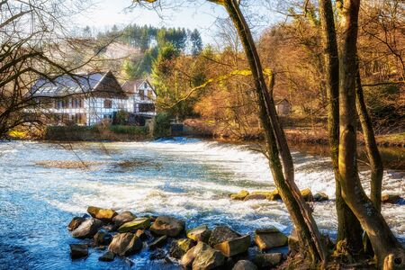 half timbered: House on the river. Traditional half timbered houses in Solingen, Germany