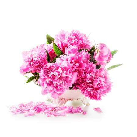 flowers in vase: Peony flowers. Romantic bouquet of pink peonies in retro vase isolated on white background
