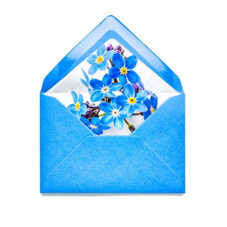 mail me: Blue envelope with forget me not flowers. Single object isolated on white background. Floral design elements Stock Photo