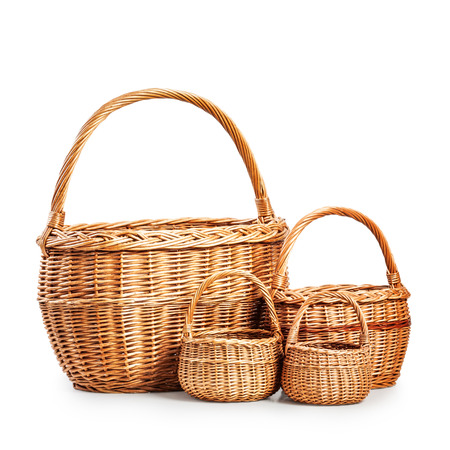 baskets: Empty wicker baskets. Objects group isolated on white background with clipping path