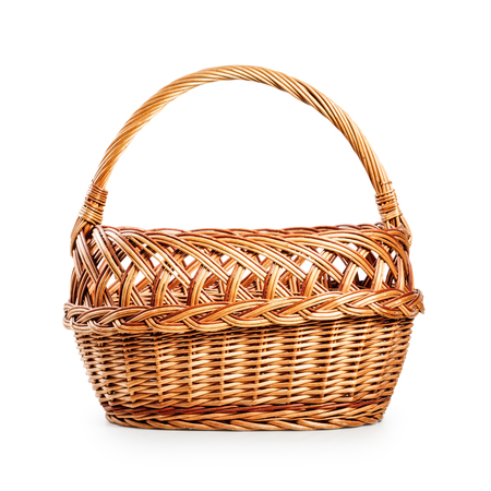 single object: Empty wicker basket. Single object isolated on white background with clipping path