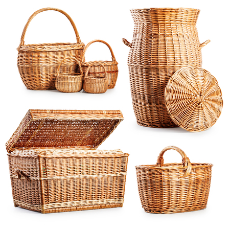 wooden basket: Wicker basket  and laundry box collection isolated on white background