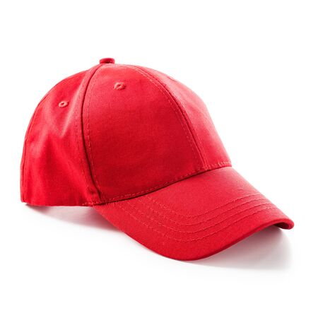 sport object: Red baseball cap isolated on white background. Sport hat. Single object with clipping path