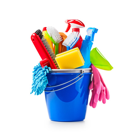 rags: Blue bucket with cleaning supplies isolated on white background. Single object with clipping path