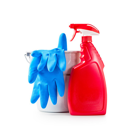 Cleaning products, spray bottle, gloves and  bucket isolated on white background clipping path included