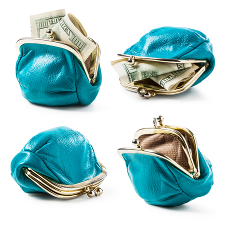 Blue coin purse with money and empty isolated on white background. Female wallet with hundred dollar banknotes. Saving money concept
