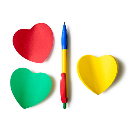Sticky notes heart shaped with colorful pen isolated on white background. Design element. Copy space. Objects group with clipping path