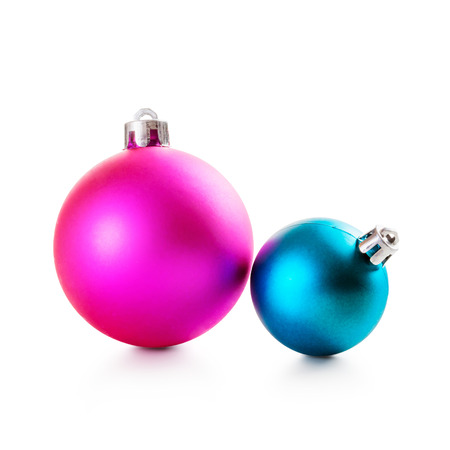 Pink and blue christmas balls on white background clipping path included