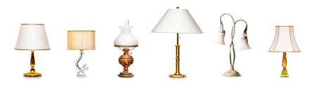 Vintage table lamps, antique oil lamp collection isolated on white background. Interior design elements banner