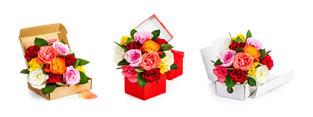 Romantic rose flowers bouquet in gift box collection isolated on white background. Floral design elements