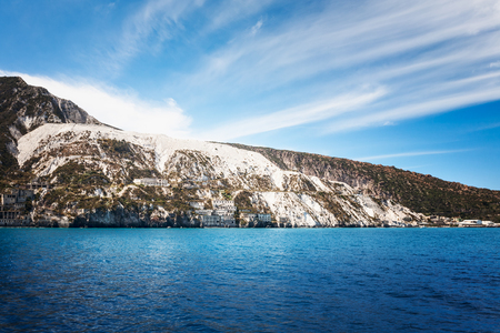 Aeolian islands. Salina island with white houses, Tyrrhenian sea, Sicily, Italy. Beautiful landscape and travel destination