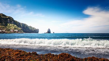 Aeolian islands. Two cliffs near Vulcano island, Tyrrhenian sea, Sicily, Italy. Beautiful landscape and travel destination