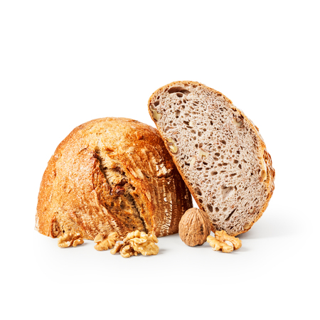 Fresh walnut bread isolated on white background clipping path included. Healthy eating and dieting concept