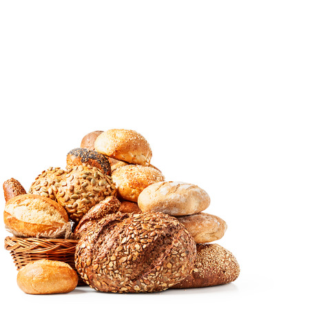Different fresh bread rolls and buns isolated on white background clipping path included
