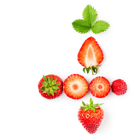 Fresh strawberries and leaves collection isolated on white background. Healthy eating and dieting concept. Spring fruits arrangement. Object group, top view, flat lay, design element  写真素材