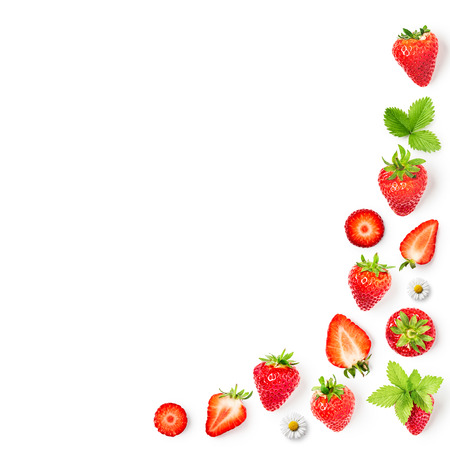 Fresh strawberries and leaves frame collection isolated on white background. Healthy eating and dieting concept. Spring fruits arrangement. Object group, top view, flat lay, design element  写真素材