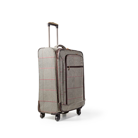 Suitcase trolley isolated on white background clipping path included. Summer time, vacation concept