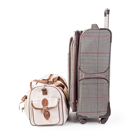 Suitcase and travel bag isolated on white background clipping path included. Summer time, vacation concept  写真素材