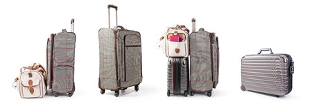 Suitcase, trolley and travel bag collection isolated on white background. Summertime and vacation themes. Design elements