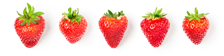 Fresh strawberries collection isolated on white background. Healthy eating and dieting concept. Spring fruits arrangement. Object group, top view, flat lay, design element banner