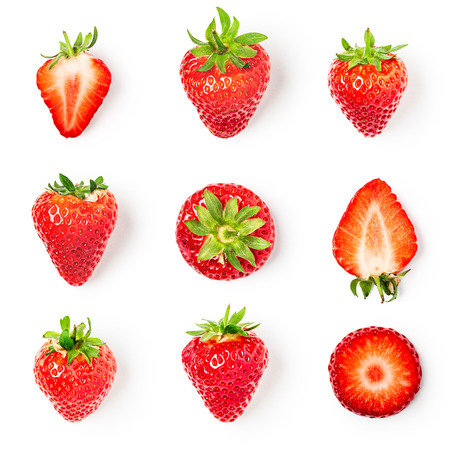 Fresh strawberries collection isolated on white background. Healthy eating and dieting concept. Spring fruits arrangement. Object group, top view, flat lay, design element