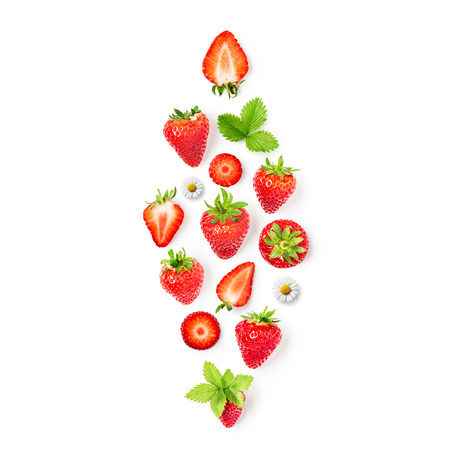 Fresh strawberries and leaves collection isolated on white background. Healthy eating and dieting concept. Spring fruits arrangement. Object group, top view, flat lay, design element