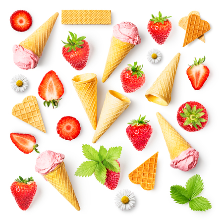 Fresh strawberries and strawberry ice cream with waffle cone collection isolated on white background. Healthy eating and dieting concept. Spring fruits arrangement. Object group, top view, flat lay, d 写真素材