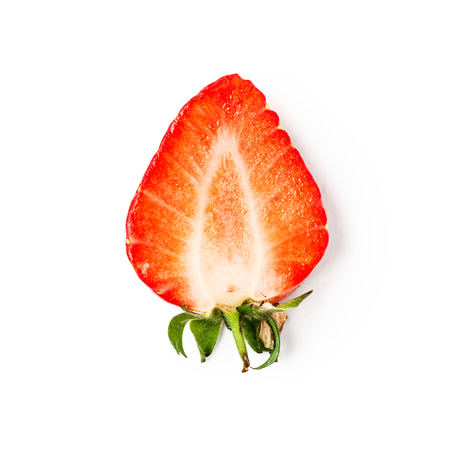 Fresh strawberry slice isolated on white background with clipping path. Healthy eating and dieting concept. Spring fruits and berries. Single object, top view, flat lay, design element
