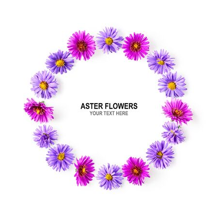 Autumn flowers composition. Wreath of pink and purple aster on white background. Flower arrangement and creative layout. Flat lay, top view, copy space Stock Photo