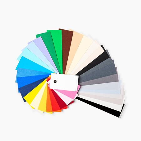 Color paper samples isolated on white background clipping path included. Photograph studio backdrop cardstock. Design element. Flat lay, top view
