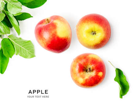 Fresh apple with green leaves as creative layout isolated on white background. Healthy eating and food concept. Summer fruits composition. Flat lay, top view. Design elements