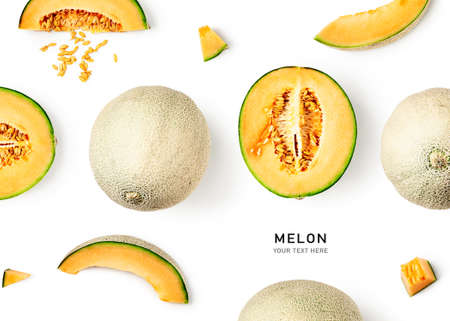 Fresh melon fruit creative layout isolated on white background. Healthy eating and dieting food concept. Cantaloupe melon summer fruits composition and design elements. Top view, flat lay