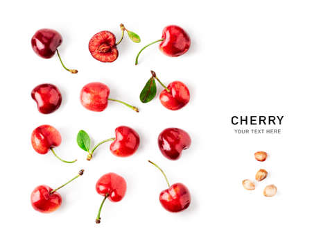Fresh cherry fruit collection and creative pattern isolated on white background. Healthy eating and dieting food concept. Red cherries composition and design elements. Top view, flat lay
