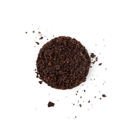 Soil with mineral fertilizers for planting and flower pot isolated on white background. Ground pattern and garden dirt earth creative composition. Top view, flat lay. Environment conservation concept Stock Photo