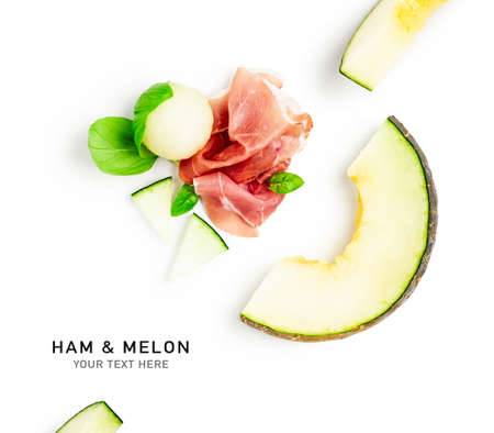 Ham prosciutto with melon creative layout isolated on white background. Fine meat and healthy eating, food concept. Composition and design element. Top view, flat lay