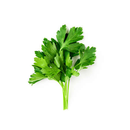Fresh green parsley bunch isolated on white background with clipping path. Top view, flat lay. Floral design element. Healthy eating and dieting concept Stock Photo