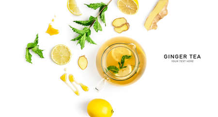 Ginger tea with lemon, mint and honey. Creative composition and layout isolated on white background. Healthy eating and food concept. Top view, flat lay, design elements