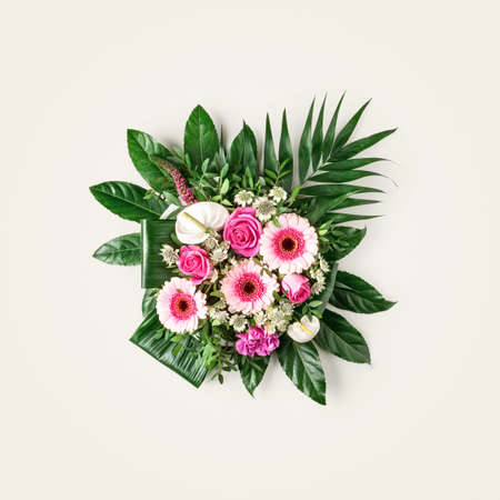 Bouquet of beautiful summer flowers isolated on bright background. Creative layout and  flower composition. Top view, flat lay. Floral design element, nature concept